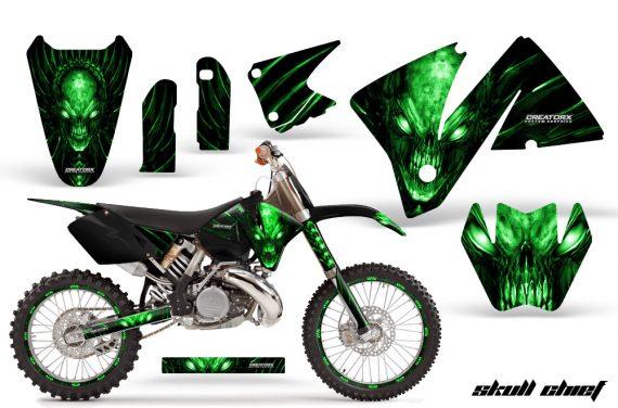 KTM C3 CreatorX Graphics Kit Skull Chief Green Rims 570x376 - KTM C3 MXC EXC 200-520 2001-2002 Graphics