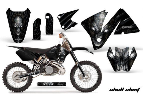 KTM C3 CreatorX Graphics Kit Skull Chief Silver Rims 570x376 - KTM C3 MXC EXC 200-520 2001-2002 Graphics