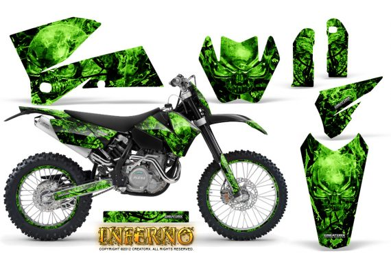 KTM C4 CreatorX Graphics Kit Inferno Green NP Rims 570x376 - KTM C4 SX 2005-2006 EXC 2005-2007 Graphics