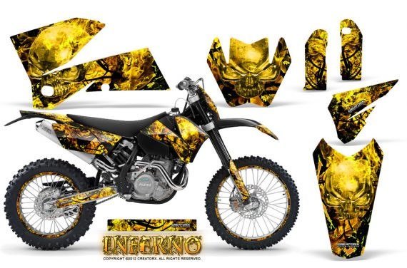 KTM C4 CreatorX Graphics Kit Inferno Yellow NP Rims 570x376 - KTM C4 SX 2005-2006 EXC 2005-2007 Graphics