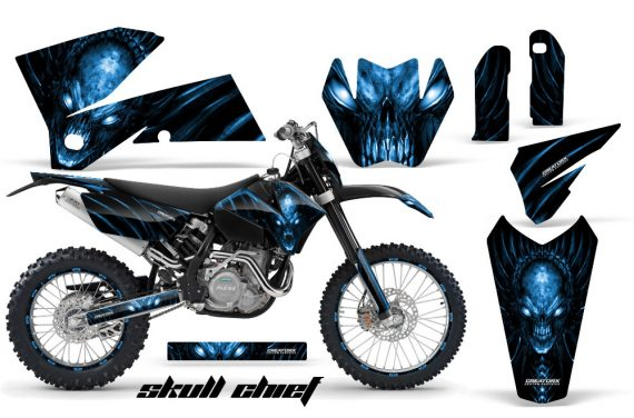 KTM C4 CreatorX Graphics Kit Skull Chief Blue BB NP Rims 570x376 - KTM C4 SX 2005-2006 EXC 2005-2007 Graphics
