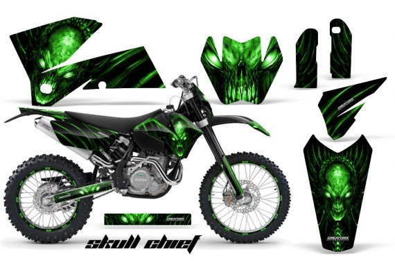 KTM C4 CreatorX Graphics Kit Skull Chief Green BB NP Rims 570x376 - KTM C4 SX 2005-2006 EXC 2005-2007 Graphics