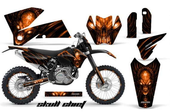 KTM C4 CreatorX Graphics Kit Skull Chief Orange BB NP Rims 570x376 - KTM C4 SX 2005-2006 EXC 2005-2007 Graphics