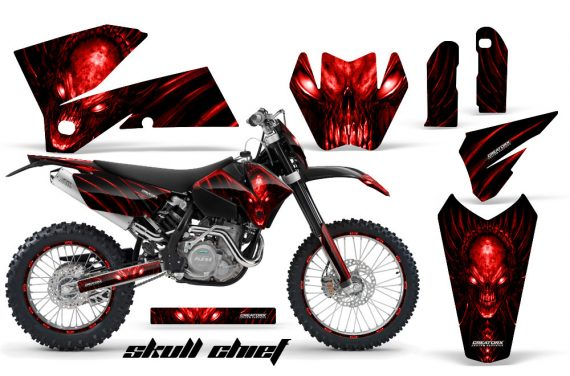 KTM C4 CreatorX Graphics Kit Skull Chief Red BB NP Rims 570x376 - KTM C4 SX 2005-2006 EXC 2005-2007 Graphics