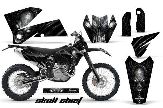 KTM C4 CreatorX Graphics Kit Skull Chief Silver BB NP Rims 570x376 - KTM C4 SX 2005-2006 EXC 2005-2007 Graphics
