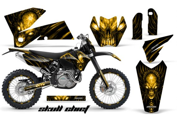 KTM C4 CreatorX Graphics Kit Skull Chief Yellow BB NP Rims 570x376 - KTM C4 SX 2005-2006 EXC 2005-2007 Graphics