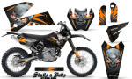 KTM C4 CreatorX Graphics Kit Skulls n Bolts Solid Orange Black NP Rims 150x90 - KTM C4 SX 2005-2006 EXC 2005-2007 Graphics