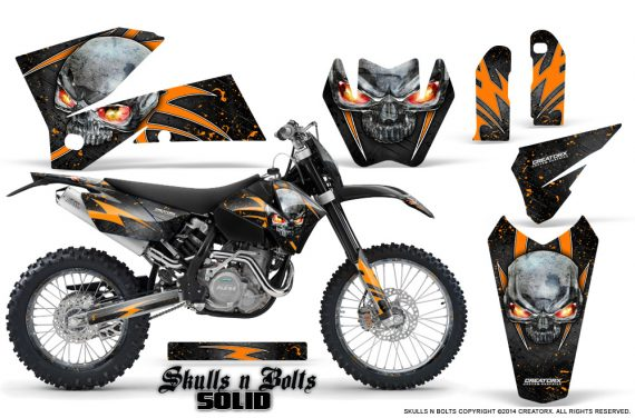 KTM C4 CreatorX Graphics Kit Skulls n Bolts Solid Orange Black NP Rims 570x376 - KTM C4 SX 2005-2006 EXC 2005-2007 Graphics