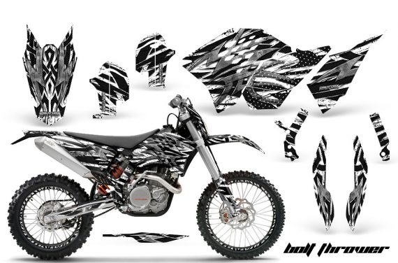 KTM C5 CreatorX Graphics Kit Bolt Thrower White NP Rims BB 570x376 - KTM C5 SX/SX-F 125-525 07-10 / XC 125-525 08-10 / XCW 200-530 2011 / XCFW 250 2011 / EXC 125-530 08-11 Graphics
