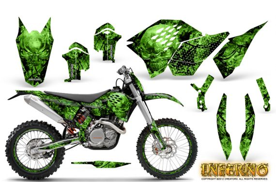 KTM C5 CreatorX Graphics Kit Inferno Green NP Rims 570x376 - KTM C5 SX/SX-F 125-525 07-10 / XC 125-525 08-10 / XCW 200-530 2011 / XCFW 250 2011 / EXC 125-530 08-11 Graphics