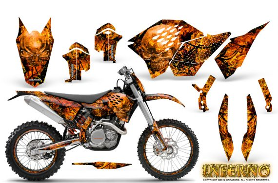 KTM C5 CreatorX Graphics Kit Inferno Orange NP Rims 570x376 - KTM C5 SX/SX-F 125-525 07-10 / XC 125-525 08-10 / XCW 200-530 2011 / XCFW 250 2011 / EXC 125-530 08-11 Graphics