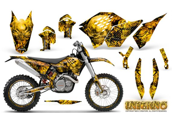 KTM C5 CreatorX Graphics Kit Inferno Yellow NP Rims 570x376 - KTM C5 SX/SX-F 125-525 07-10 / XC 125-525 08-10 / XCW 200-530 2011 / XCFW 250 2011 / EXC 125-530 08-11 Graphics