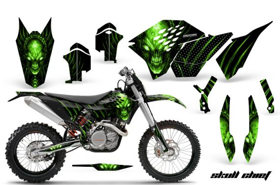 KTM C5 CreatorX Graphics Kit Skull Chief Green 570x376 - KTM C5 SX/SX-F 125-525 07-10 / XC 125-525 08-10 / XCW 200-530 2011 / XCFW 250 2011 / EXC 125-530 08-11 Graphics