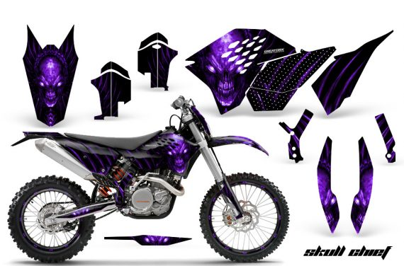 KTM C5 CreatorX Graphics Kit Skull Chief Purple NP Rims 570x376 - KTM C5 SX/SX-F 125-525 07-10 / XC 125-525 08-10 / XCW 200-530 2011 / XCFW 250 2011 / EXC 125-530 08-11 Graphics