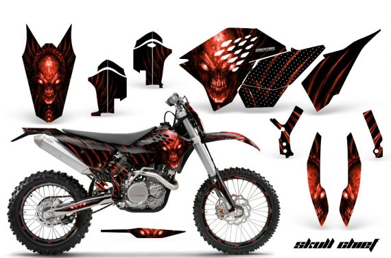 KTM C5 CreatorX Graphics Kit Skull Chief Red NP Rims 570x376 - KTM C5 SX/SX-F 125-525 07-10 / XC 125-525 08-10 / XCW 200-530 2011 / XCFW 250 2011 / EXC 125-530 08-11 Graphics