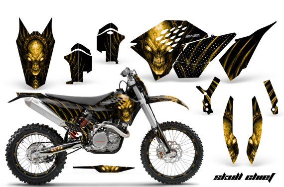 KTM C5 CreatorX Graphics Kit Skull Chief Yellow NP Rims 570x376 - KTM C5 SX/SX-F 125-525 07-10 / XC 125-525 08-10 / XCW 200-530 2011 / XCFW 250 2011 / EXC 125-530 08-11 Graphics