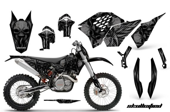KTM C5 CreatorX Graphics Kit Skullcified Black NP Rims BB 570x376 - KTM C5 SX/SX-F 125-525 07-10 / XC 125-525 08-10 / XCW 200-530 2011 / XCFW 250 2011 / EXC 125-530 08-11 Graphics