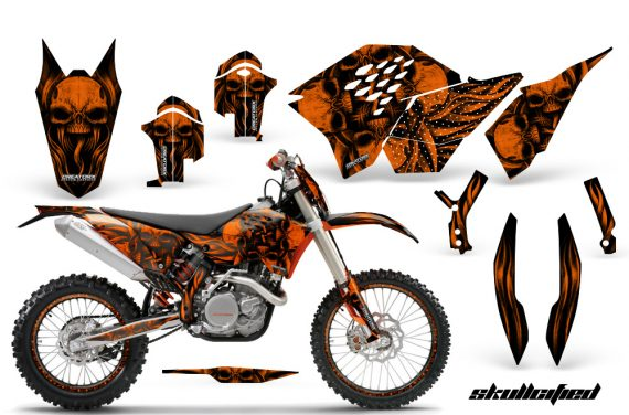 KTM C5 CreatorX Graphics Kit Skullcified Orange Flat NP Rims 570x376 - KTM C5 SX/SX-F 125-525 07-10 / XC 125-525 08-10 / XCW 200-530 2011 / XCFW 250 2011 / EXC 125-530 08-11 Graphics