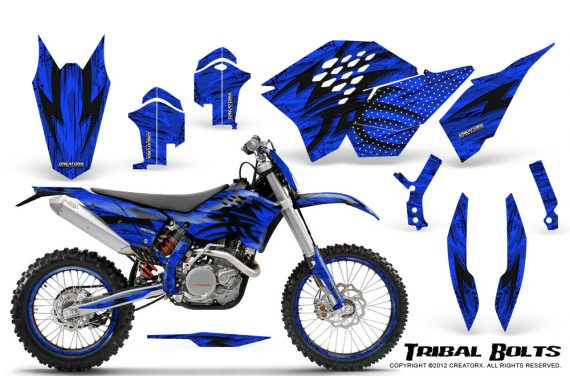 KTM C5 CreatorX Graphics Kit Tribal Bolts Blue NP Rims 570x376 - KTM C5 SX/SX-F 125-525 07-10 / XC 125-525 08-10 / XCW 200-530 2011 / XCFW 250 2011 / EXC 125-530 08-11 Graphics