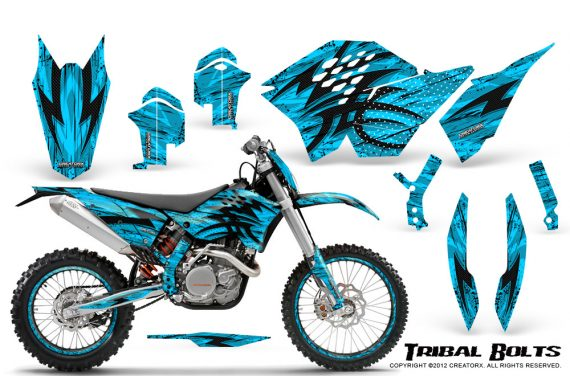 KTM C5 CreatorX Graphics Kit Tribal Bolts BlueIce NP Rims 570x376 - KTM C5 SX/SX-F 125-525 07-10 / XC 125-525 08-10 / XCW 200-530 2011 / XCFW 250 2011 / EXC 125-530 08-11 Graphics