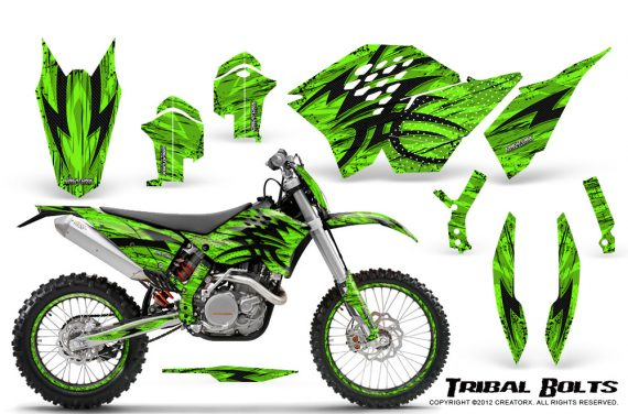 KTM C5 CreatorX Graphics Kit Tribal Bolts Green NP Rims 570x376 - KTM C5 SX/SX-F 125-525 07-10 / XC 125-525 08-10 / XCW 200-530 2011 / XCFW 250 2011 / EXC 125-530 08-11 Graphics
