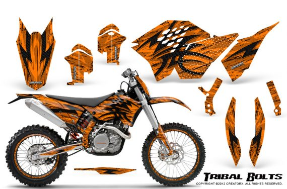 KTM C5 CreatorX Graphics Kit Tribal Bolts Orange NP Rims 570x376 - KTM C5 SX/SX-F 125-525 07-10 / XC 125-525 08-10 / XCW 200-530 2011 / XCFW 250 2011 / EXC 125-530 08-11 Graphics