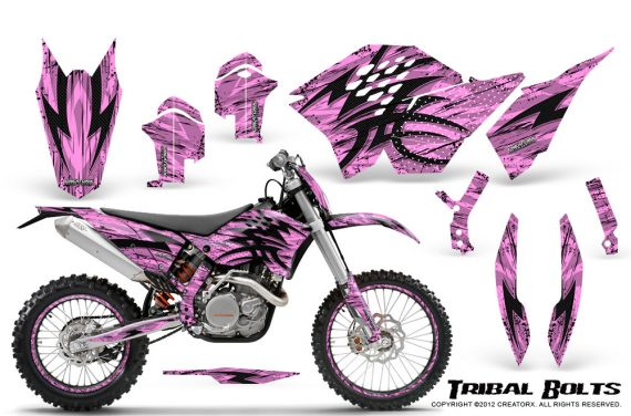 KTM C5 CreatorX Graphics Kit Tribal Bolts PinkLite NP Rims 570x376 - KTM C5 SX/SX-F 125-525 07-10 / XC 125-525 08-10 / XCW 200-530 2011 / XCFW 250 2011 / EXC 125-530 08-11 Graphics