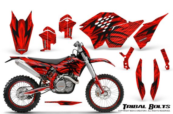 KTM C5 CreatorX Graphics Kit Tribal Bolts Red NP Rims 570x376 - KTM C5 SX/SX-F 125-525 07-10 / XC 125-525 08-10 / XCW 200-530 2011 / XCFW 250 2011 / EXC 125-530 08-11 Graphics
