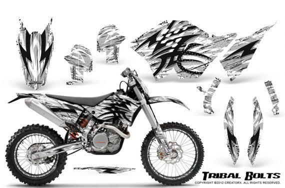 KTM C5 CreatorX Graphics Kit Tribal Bolts White NP Rims 570x376 - KTM C5 SX/SX-F 125-525 07-10 / XC 125-525 08-10 / XCW 200-530 2011 / XCFW 250 2011 / EXC 125-530 08-11 Graphics