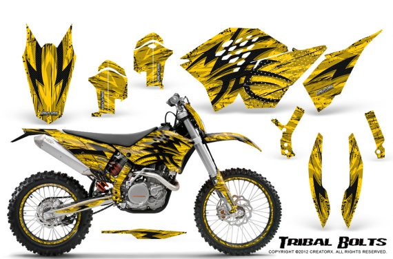 KTM C5 CreatorX Graphics Kit Tribal Bolts Yellow NP Rims 570x376 - KTM C5 SX/SX-F 125-525 07-10 / XC 125-525 08-10 / XCW 200-530 2011 / XCFW 250 2011 / EXC 125-530 08-11 Graphics