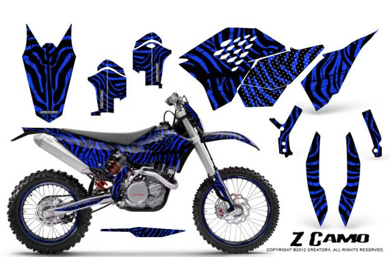 KTM C5 CreatorX Graphics Kit ZCamo Blue NP Rims 570x376 - KTM C5 SX/SX-F 125-525 07-10 / XC 125-525 08-10 / XCW 200-530 2011 / XCFW 250 2011 / EXC 125-530 08-11 Graphics