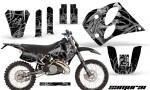 KTM C6 CreatorX Graphics Kit Samurai Silver Black NP Rims 150x90 - KTM C6 SX Two Stroke Models 1993-1997 Graphics
