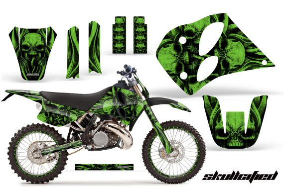 KTM C6 CreatorX Graphics Kit Skullcified Green NP Rims 570x376 - KTM C6 SX Two Stroke Models 1993-1997 Graphics
