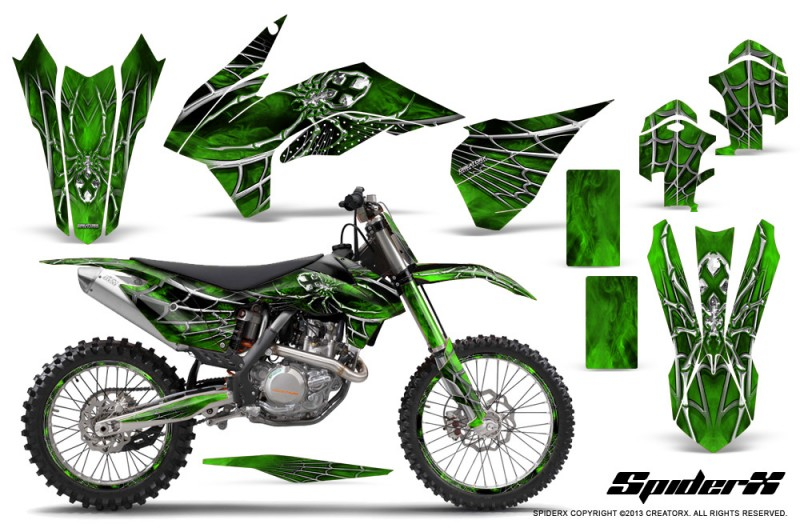 KTM-C9-SX-F450-2013-CreatorX-Graphics-Kit-SpiderX-Green-NP-Rims