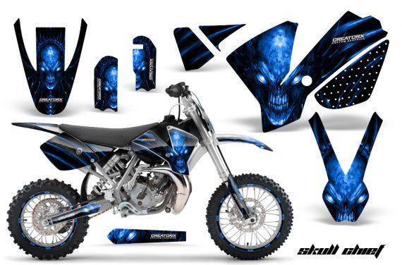 KTM SX65 02 08 CreatorX Graphics Kit Skull Chief Blue NP Rims 570x376 - KTM SX 65 2002-2008 Graphics