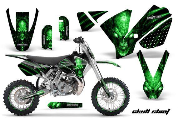 KTM SX65 02 08 CreatorX Graphics Kit Skull Chief Green NP Rims 570x376 - KTM SX 65 2002-2008 Graphics