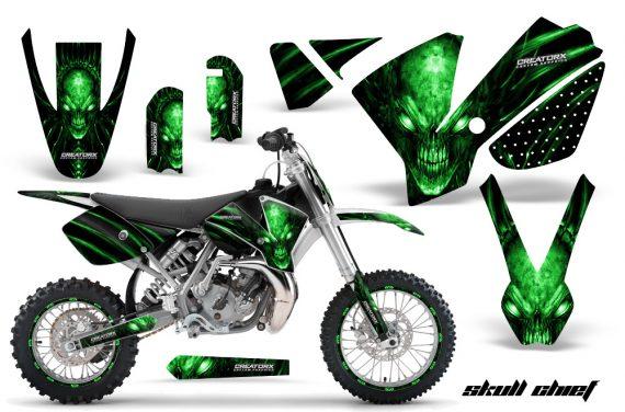 KTM SX65 02 08 CreatorX Graphics Kit Skull Chief Green NP Rims WB 570x376 - KTM SX 65 2002-2008 Graphics