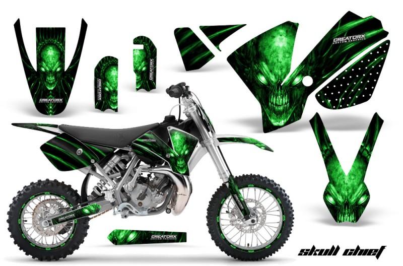 KTM-SX65-02-08-CreatorX-Graphics-Kit-Skull-Chief-Green-NP-Rims-WB