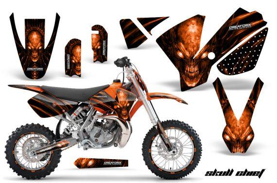 KTM SX65 02 08 CreatorX Graphics Kit Skull Chief Orange NP Rims 570x376 - KTM SX 65 2002-2008 Graphics