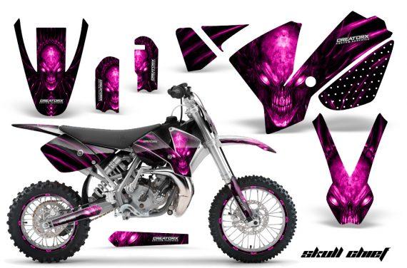 KTM SX65 02 08 CreatorX Graphics Kit Skull Chief Pink NP Rims 570x376 - KTM SX 65 2002-2008 Graphics