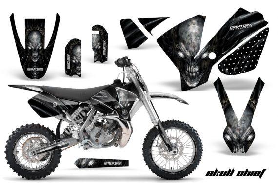 KTM SX65 02 08 CreatorX Graphics Kit Skull Chief Silver NP Rims 570x376 - KTM SX 65 2002-2008 Graphics