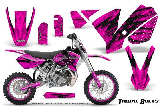 KTM SX65 02 08 CreatorX Graphics Kit Tribal Bolts Pink NP Rims 570x376 - KTM SX 65 2002-2008 Graphics