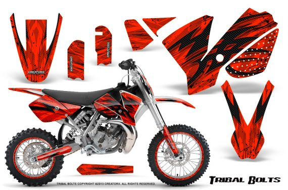 KTM SX65 02 08 CreatorX Graphics Kit Tribal Bolts Red NP Rims 570x376 - KTM SX 65 2002-2008 Graphics