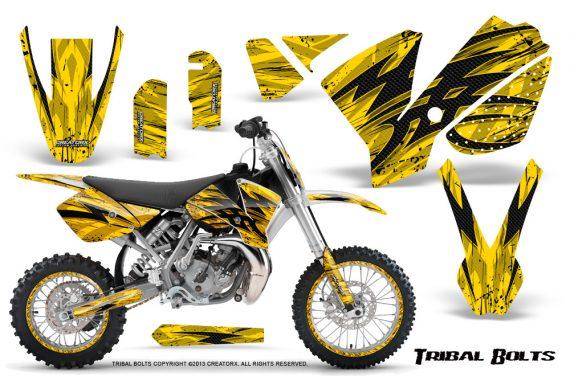 KTM SX65 02 08 CreatorX Graphics Kit Tribal Bolts Yellow NP Rims 570x376 - KTM SX 65 2002-2008 Graphics