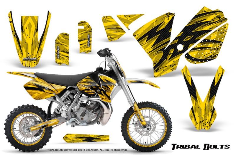 KTM-SX65-02-08-CreatorX-Graphics-Kit-Tribal-Bolts-Yellow-NP-Rims
