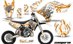 KTM SX65 09 12 CreatorX Graphics Kit Samurai Orange White NP 150x90 - KTM SX 65 2009-2015 Graphics