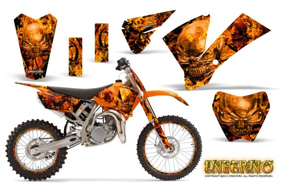 KTM SX85 04 05 CreatorX Graphics Kit Inferno Orange OB NP Rims 570x376 - KTM SX 85/105 2004-2005 Graphics