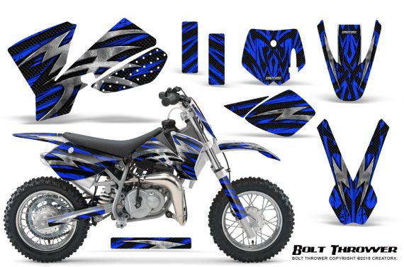 KTM SX50 CreatorX Graphics Kit Bolt Thrower Blue 570x376 - KTM SX 50 Adventurer Jr Sr 2002-2008 Graphics