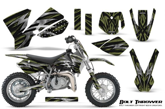 KTM SX50 CreatorX Graphics Kit Bolt Thrower GreenArmy 570x376 - KTM SX 50 Adventurer Jr Sr 2002-2008 Graphics