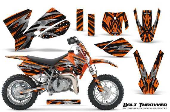 KTM SX50 CreatorX Graphics Kit Bolt Thrower Orange 570x376 - KTM SX 50 Adventurer Jr Sr 2002-2008 Graphics
